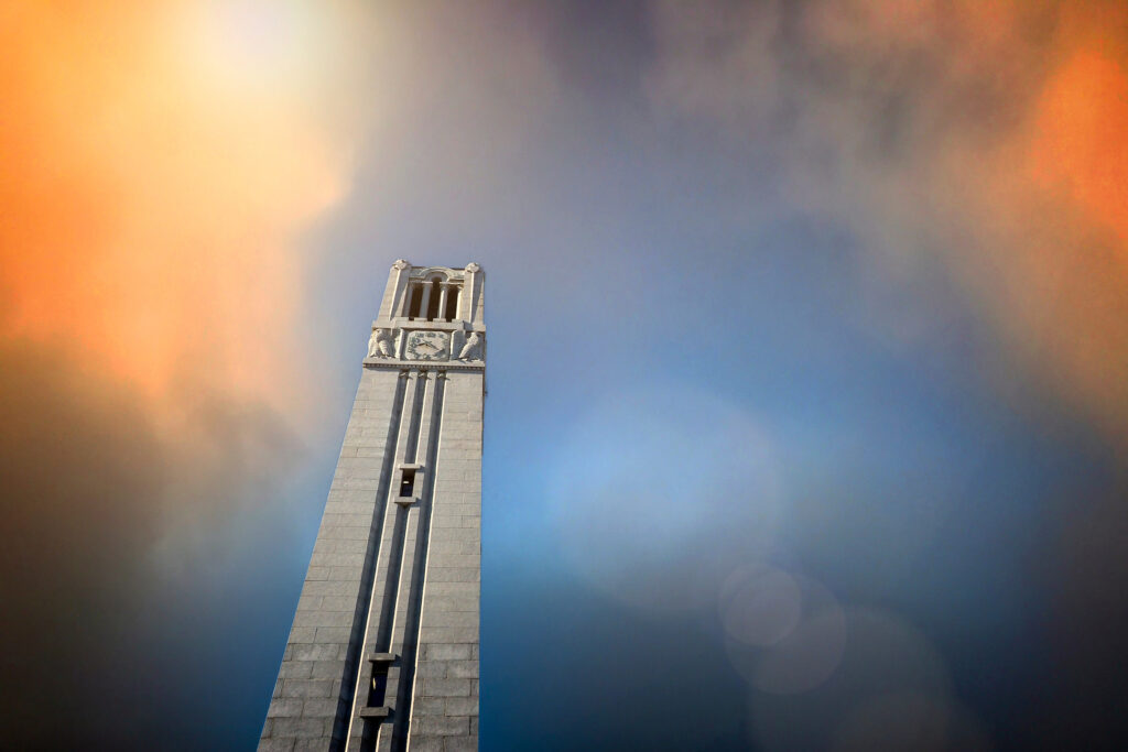 The NC State belltower on main campus.