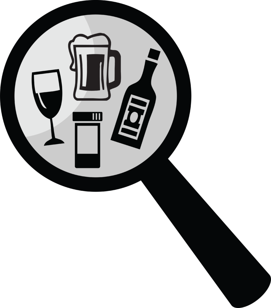 A logo of a magnifying glass with a wine glass, pint of beer, liquor bottle, and a pill bottle.