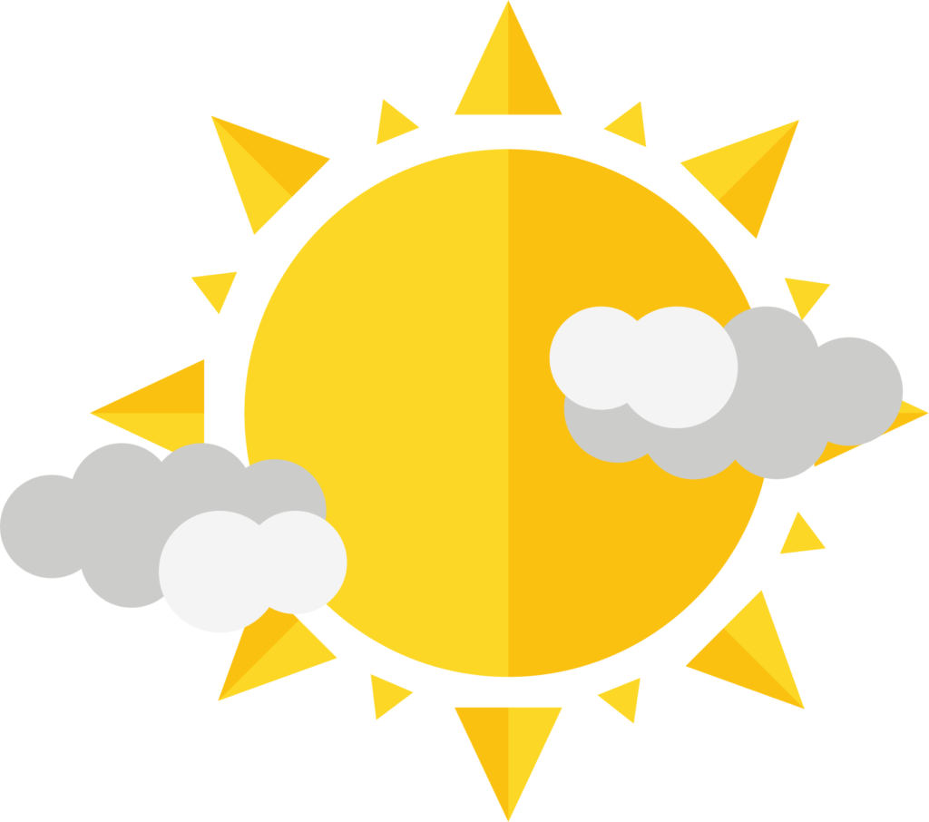 A logo of a yellow sun with white and gray clouds on either side.