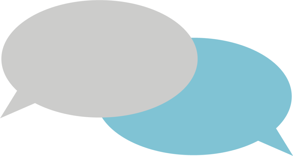 A logo of two speech bubbles - one blue and one gray - overlapping.