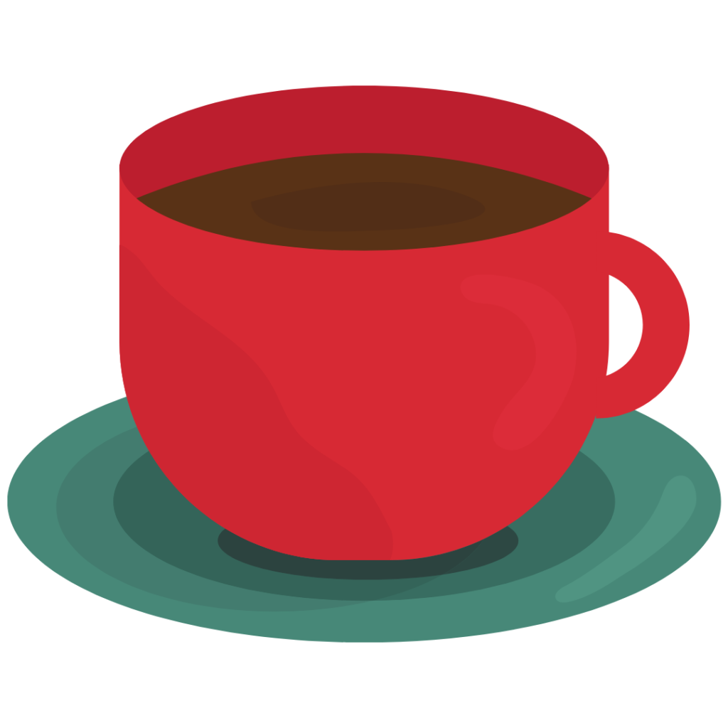 A logo of a red tea cup on a green saucer.