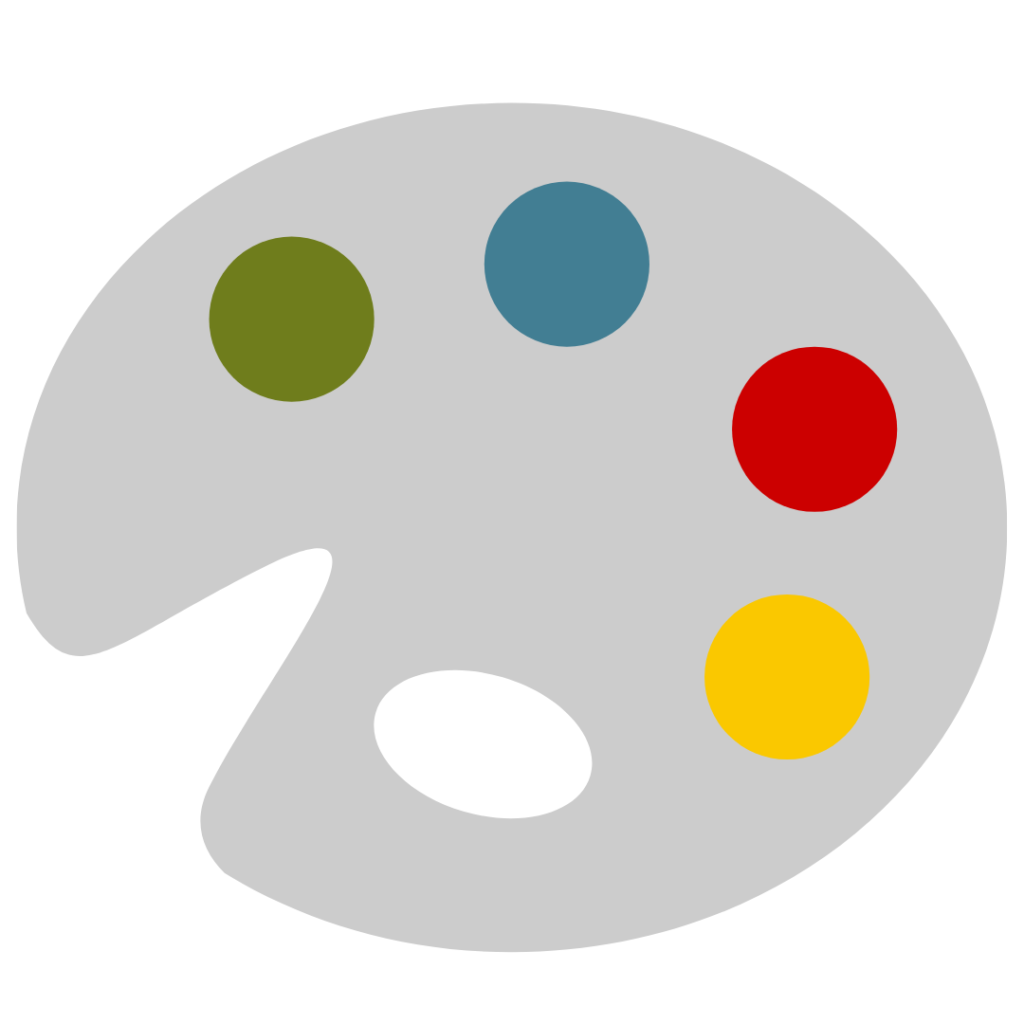 A paint palette with red, blue, yellow and green blobs of paint.