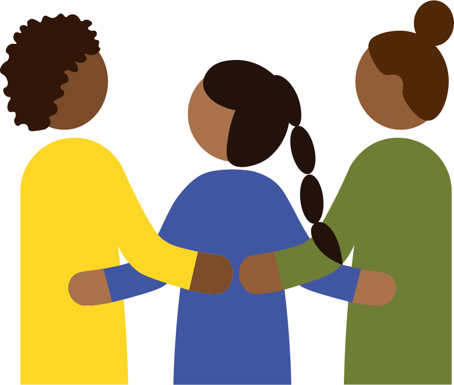 An icon of three Black femme-presenting people holding each other close with arms around each other's backs.